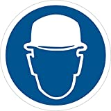 Aviditi DSL512 Tape Logic Wear Head Protection Durable Safety Label, 2'' Circle, Blue/White (1 Roll of 25 Labels)