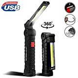 AUKELLY LED Torch COB Work Light Rechargeable, COB Inspection Lamp Torch,COB Magnetic Flashlight Work Light Torch with Hook for Car Repairing, Workshop,Garage,Camping,Emergency,18650 Battery Included