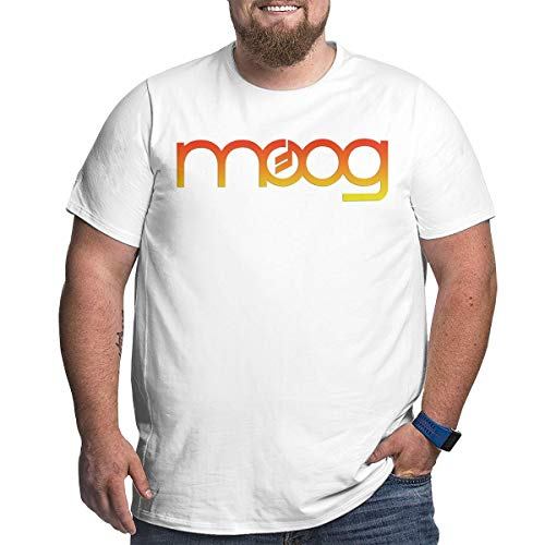 KGYUT Moog Synth Big and Tall T-Shirt for Men - Short Sleeve Tee with Crew Neck White