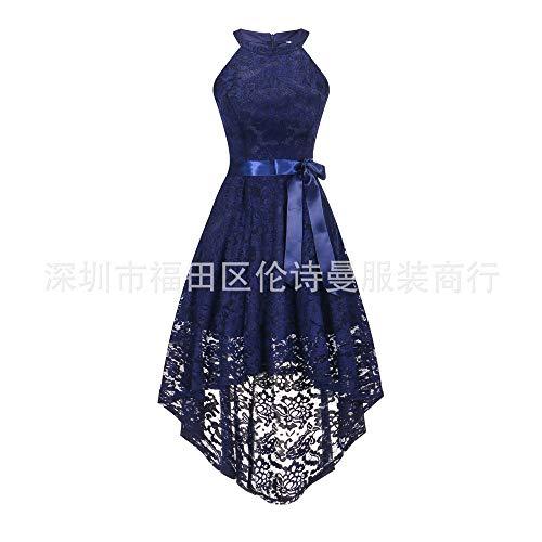 La Dark Yuezhang Moda Elegante Temperamento Noche Cordón Del Blue Halter Swtertail Haltertail Vestido De vestido Tqxwqan4SY