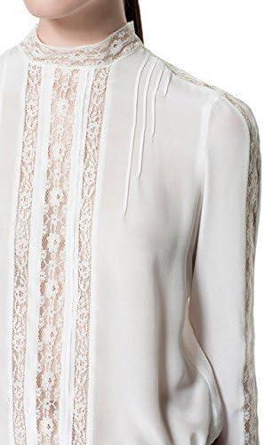 Zara 100% crudo para cordones de zapatos de seda crema blusa de diseño de la costura para camisetas de mujer de manga corta de mujer: mediana para el cuello: Amazon.es: Ropa y