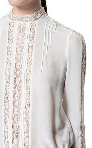 Zara 100% crudo para cordones de zapatos de seda crema blusa de diseño de la