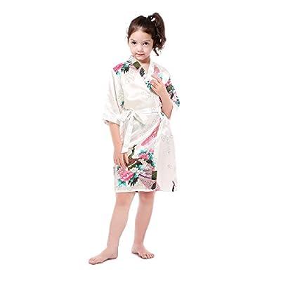 Girl's Peacock Floral Satin Kimono Robe Bridal Blossoms Sleepwear Robe for Spa Wedding Party