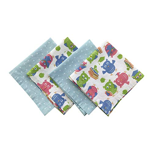 Funkins Reusable Cloth Napkins for Kids   Lunch Box Napkins with Name Tag   Set of 4, Single-Ply, 12x12 Soft Cotton Washable Kids Lunch Napkins (School Owls)