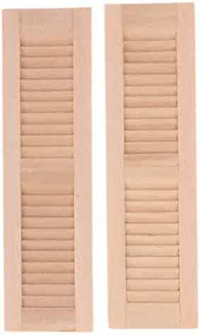 8pcs Unpainted 1/12 Dollhouse Wooden Shutters DIY Window Room Accessory Toy Furniture & Room Items Dolls & Bears