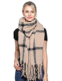 Belle Dame Women's Fashion Long Shawl Large Color Block Plaid Blanket Scarf Wrap (309-7)