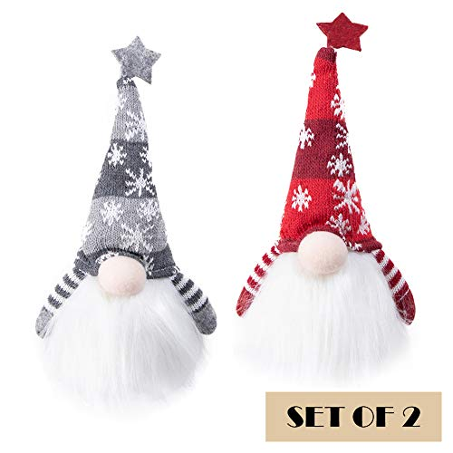 EDLDECCO Christmas Gnome with Light Timer 12 Inches Set of 2 Knitted Hat Nisse Figurine Plush Swedish Nordic Tomte…