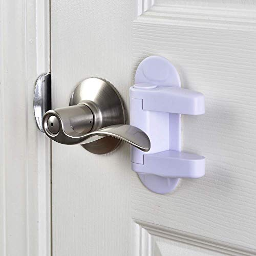 Child Safety Door Lever Lock, Handle Lock, Easy Install (2 Pack, White) - Childproof by Twin City