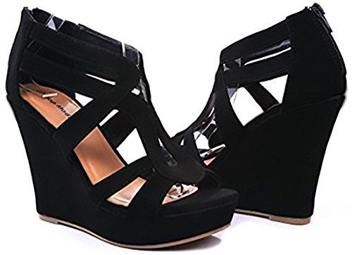 Top Sandals Pu Platform 3 Black Womens Moda Lindy OqwXnrO4