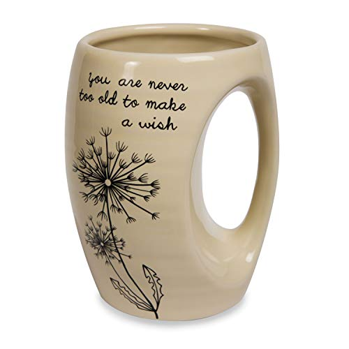 Pavilion Gift Company 77104 Dandelion Wishes You Are Never Too Old to Make a Wish Ceramic Hand Warmer Mug, Yellow (Hand Warmer Clearance Mugs)
