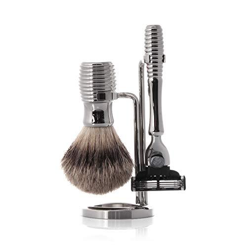 Hans Baier - Shaving Set Razor, Shaving Brush Silvertip, Holder Metal ()