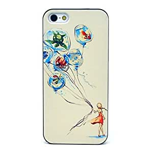 HC-Beautiful Girl y los peces patrón duro caso para iPhone 5/5S