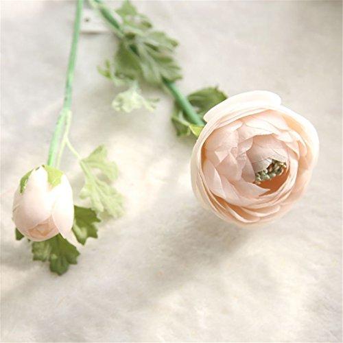 Mynse 5 Pieces 22.8 Inch Single Silk Peony Artificial Ranunculus Posy Lu Lotus Flower Pink