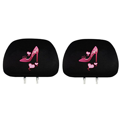 Two Universal Fit Headrest Covers - Pink High Heel