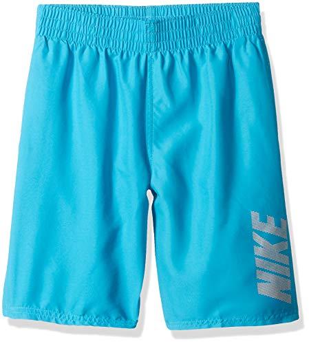Nike Swim Big Boys' Logo Solid Lap Volley Short Swim Trunk, Light Blue Fury, - Boys Nike Trunks Swim
