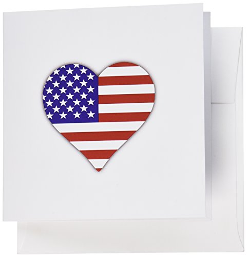 3dRose American Flag Heart - I love America patriotic - USA July 4th gift - Greeting Cards, 6 x 6 inches, set of 6 (gc_184871_1)