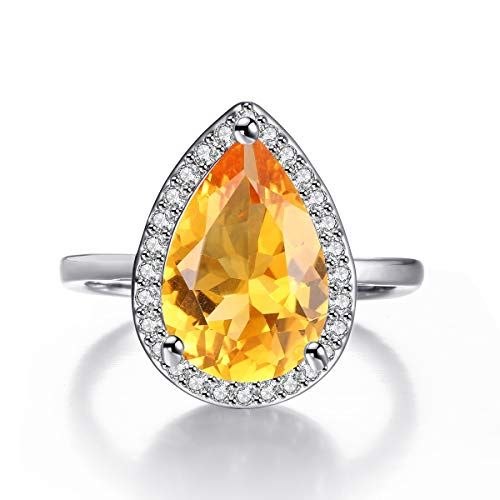 Teardrop Rings for Women Pear Cut Simulated Citrine Crystal Micro Cubic Zirconia Halo Style Rhodium Plated Ring Size 5