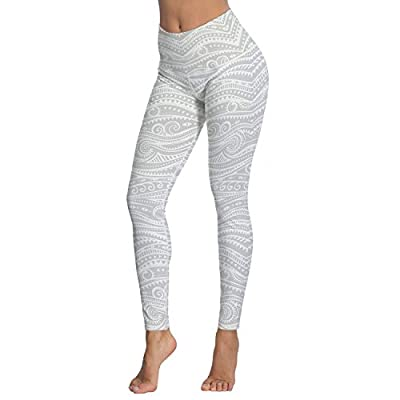 Women's Gray White Work Out Printed High Waist Leggings Full-Length Yoga Thin Capris Pants