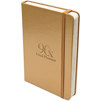 "90X Goal Planner - Superior Self Journal for Achieving Goals and Productivity Daily - Undated Calendar Days w/ Vision Board and To Do List - Hardcover Leather - 5.5"" x 8.5"" x 1 (Gold Leeam)"