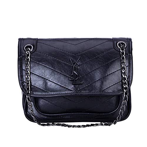 Luxury Handbags Designer (Ladies Shoulder Crossbody Satchel Black Chain Crossbody Bag Fashion Handbags for Women)