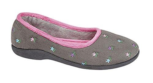 Señoras ángel Floral zapato de bailarina gris