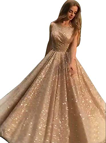 Ball Gown Scoop Neck - A Line Sequined Evening Dresses for Women Mermaid Party Dress 2019 Empire Waist Sexy V Neck Formal Ball Gown ZY03 Z Gold Scoop Neck Size 10