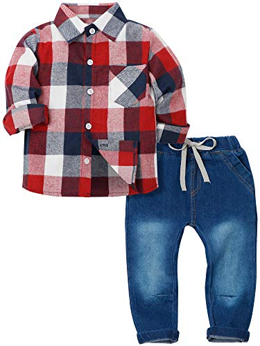 - YALLET Toddler Boys Clothes Outfits 2 Pieces Long Sleeve Plaid Flannel Shirt Denim Pants Jeans Set Light Red