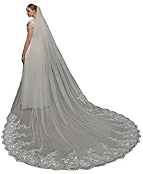 EllieHouse Women's 1 Tier Cathedral Sequin Lace Wedding Bridal Veil With Comb L63