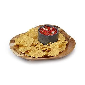 Sparq Kreis Akazie Chip/Dip Servierplatte mit Speckstein ...