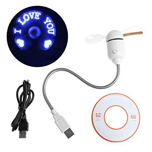 SELFON USB LED Fan Light Flexible Fan Cooling DIY Program Editable Message For PC Laptop -Blue ()