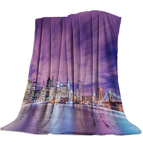 Singingin Ultra Soft Flannel Fleece Bed Blanket Brightly Lit New York City Throw Blanket All Season Warm Fuzzy Light Weight Cozy Plush Blankets for Living Room/Bedroom 60