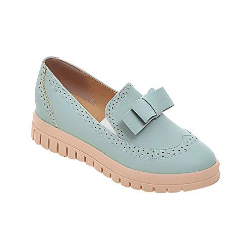 Show Shine Womens Fashion Sweet Bow Loafer Flats Shoes Blue V11D38wX