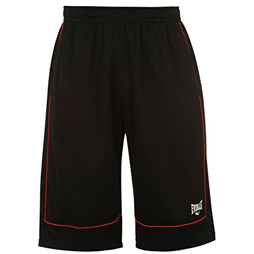 Everlast Athletic Shorts - Everlast Mens Basketball Shorts Elasticated Waist Sports Bottoms Short Pants Black/Red Small