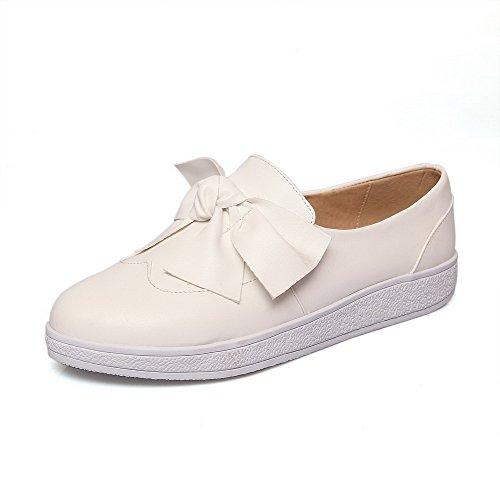 AllhqFashion Damen Weiches Material Ziehen auf Rund Zehe Niedriger Absatz Rein Pumps Schuhe Weiß