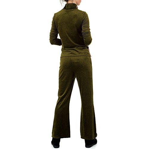 Samt Zweiteiler Jogging Anzug Für Damen , Grün In Gr. S bei Ital-Design