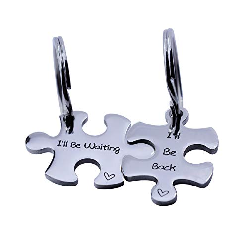 omodofo Valentine's Day His and Hers Puzzle Piece Pendant Necklace Keychain Set Personalized Couples Stamped Chain Keyring (I'll be Waiting & Back ()