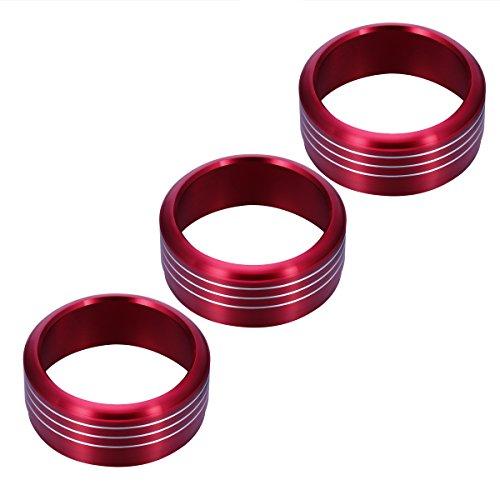 (WINOMO Air Condition Button Covers 3pcs Red Anodized Aluminum AC Climate Control Knob Ring Covers For Subaru WRX STI Impreza Forester XV Crosstrek (Red))