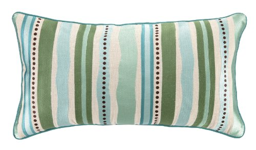 Kate Spain Talavera Oblong Embroidery Linen Pillow, 14 by 26-Inch, Green/Blue by Kate Spain