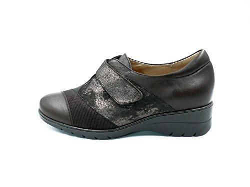 Velcro Cierre Grabados 112n 175956 Abotinado Combinado piel Zapato Marrón Y Color Caoba Piesanto Ante Mujer StAqzWwI