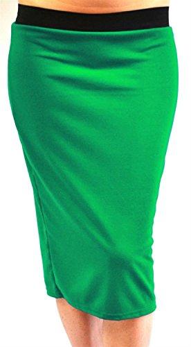Midi 44 Jupes Plaine Extensible Jersey Dames Plus Chocolate Taille 54 Green Pencil Bodycon Pickle Nouveau aqxXv7