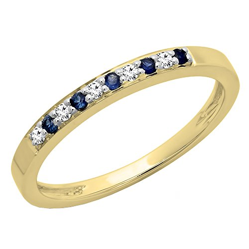 Dazzlingrock Collection 10K Blue Sapphire & White Diamond Ladies Anniversary Wedding Band Stackable Ring, Yellow Gold, Size 6