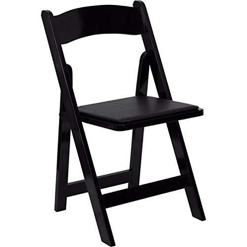 Offex OFX-89937-FF Wood Folding Chair with Vinyl Padded Seat - Black by Offex