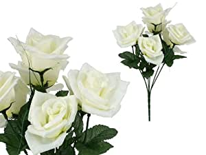 7-stem Large Roses, Artificial Flower, Cream