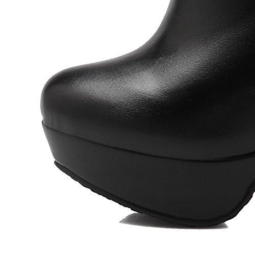 AllhqFashion Mujeres Caña Baja Cremallera Material Suave Tacón Alto Puntera Redonda Botas Negro