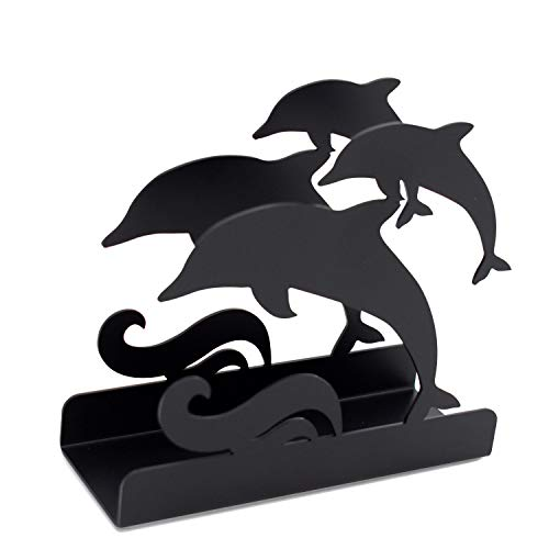 K&H Dolphin Wave Steel Napkin Letter Book Holder, Black