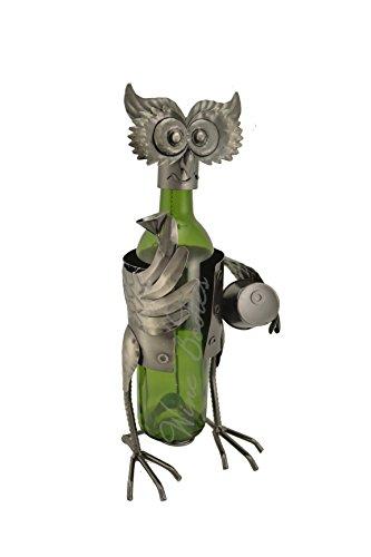 WINE BODIES ZA404 Holding Barrel Owl Wine Bottle Holder, Charcoal (Barrel Holder Utensil Wine)