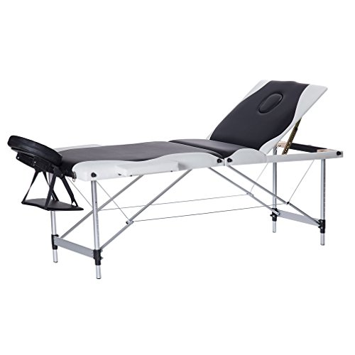 Homgrace Portable Massage Table 3 Fold Fold Aluminum Alloy Frame for Facial SPA Bed / SPA Therapy / Beauty Salon (Black+White) by Homgrace
