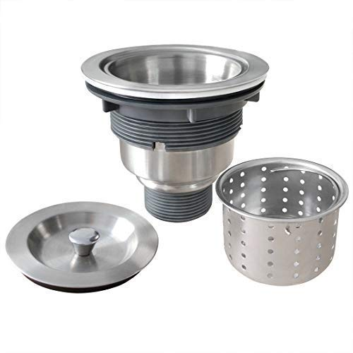 (GZILA 3-1/2-Inch Kitchen Sink Strainer with Deep Waste Basket/Strainer Assembly/Sealing Lid, 304 Brushed Nickel Stainless Steel )