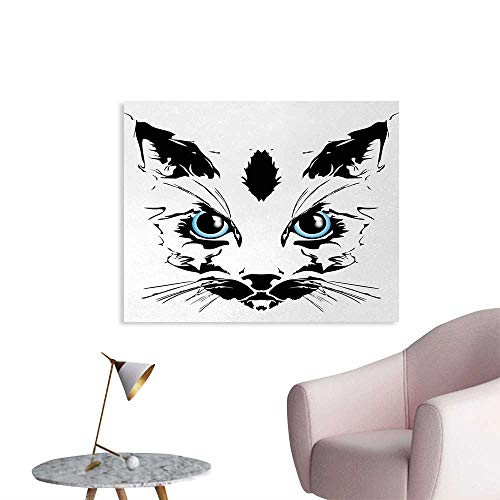(Tudouhoho Animal Art Poster Big Cat Face Pet Cute with Whiskers witn Dark Shadow Hand Drawn Image Wallpaper Black White and Sky Blue W32)