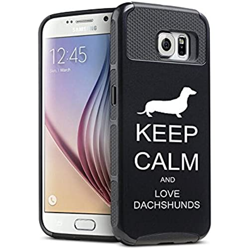 Samsung Galaxy S7 Edge Shockproof Impact Hard Case Cover Keep Calm and Love Dachshunds (Black ) Sales